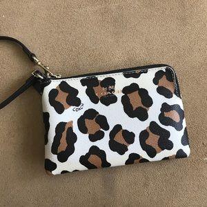 Coach leopard print leather wristlet